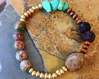 Teal Green Rock and Lava Rock Bracelet