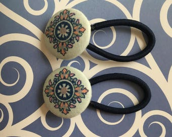Fabric Covered Buttons Hair Elastic | Hair Ties | Ponytail Holders | Pigtail Holders | Medallion Flower Hair Elastic | Medallion Inspired