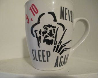 Freddy Krueger Nightmare on Elm Street Never Sleep Again Mug Horror Coffee Cup Gift Halloween Kitchen Decor Merch Massacre