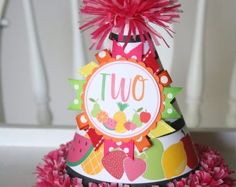 Tutti Fruity Birthday Party Hat - Two-ti Fruitti Birthday - Girl Second Birthday - Black and White Stripes - Two-ti Fruity Birthday Outfit