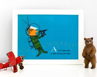 1960's Children's Alphabet Illustration Print - A is for Astronaut