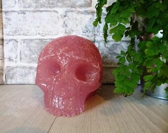Ornamental Skull, Baby pink & Glitter Resin Skull, Large Skull, Ornament, Skull Ornament, Pretty Skull, Glittery Skull, catacomb style