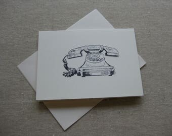 6 Handmade old phone blank notecard set