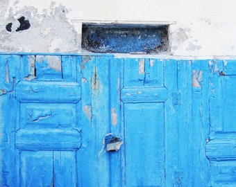 Greece Photography, The Blue Door, Greek Decor, Greece Art Print, Wall Art, Travel Photography, Shabby Chic Wall Decor, Peeling Paint