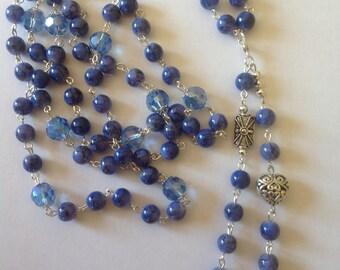Long blue necklace flapper necklace dangle necklace beaded necklace blue necklace handmade necklace statement necklace