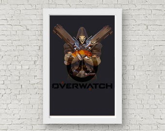 Overwatch REAPER Poster, Game Poster, Flat Print Design, Digital Printable Poster, Blizzard wall art, Instant Download, game art