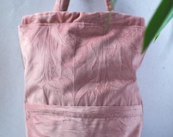Crinkle blush velvet convertible drawstring backpack + tote bag