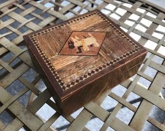Vintage Wood Inlay Trinket Box Scottie Dogs Scottish Terriers