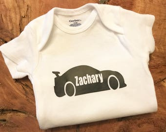 personalized baby boy onesie with race car