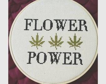 Flower Power Pot Leaf Cross Stitch Pattern PDF Download Marijuana Hippie Hipster Home Decoration Art Hoop Wall Hanging