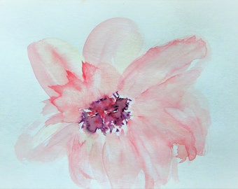Flower Painting Abstract Painting Watercolor Flowers Floral Painting Original Watercolor Painting Pink Flower