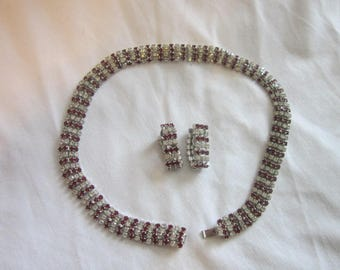 Vintage Kramer of New York Necklace and Earring Set White and Red Rhinestones
