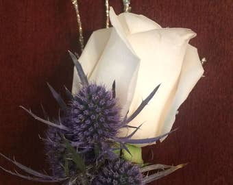 Rose w/Blue Thistle Boutonniere