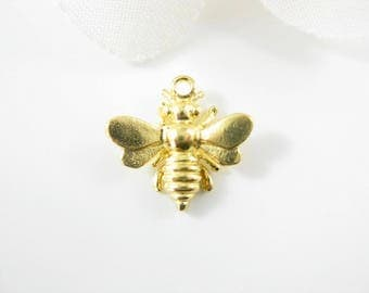 1PC - Gold Honey Bee Charm, 18Kt Gold Over Sterling Silver 15mm x 13mm