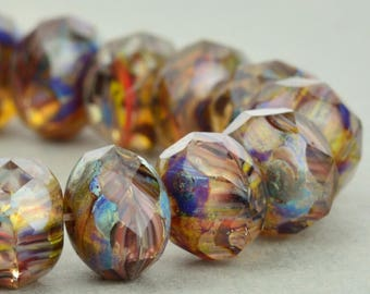 Czech Glass Beads - Czech Glass Rondelles - Crystal Grey Purple Mix Opaque Transparent with Picasso Beads - 9x6mm , ( 8 beads ), UK beads