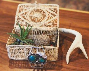 Vintage Grass Jewelry Box Bohemian Decor // Boho