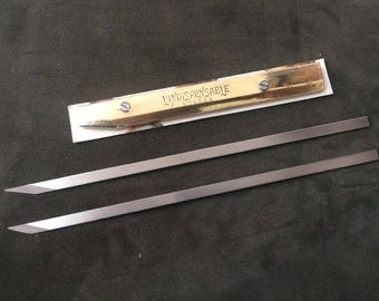 """Leather Flat Knife """"L'Indispensable"""" Vergez Blanchard/Brass Scabbard/Leather Paring Knife/Leather Craft Knife"""
