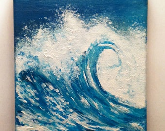 Sea wave painting crashing wave 5x7 canvas