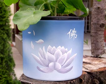 Hand dyed flower pot, Hand Painted Flower pot, Lotus flower hand painted pot, Hand dyed flower pot