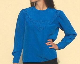 NILANI Vintage 1980's blouse, cobalt blue