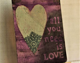 ACEO, mixed media original, ATC, artist trading card, love, heart, purple, gray, 2.5x3.5, gothic, upcycled, All You Need is Love,