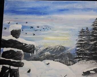 Whistler local artist Inukshuk Painting print