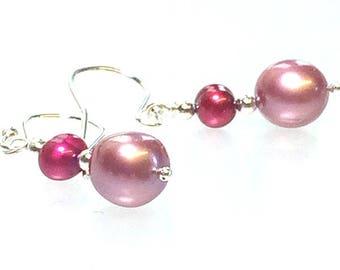 AAA Grade Deep Pink & Red Freshwater Pearl Earrings