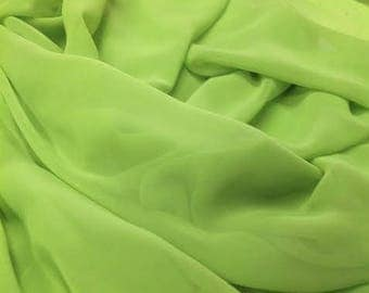 Lime green Chiffon Fabric, Lime Chiffon Material Sold By the Yard