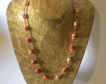 Pink Paper Bead Necklace
