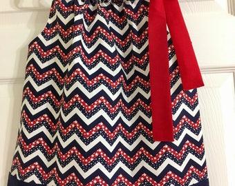 Girls Starry Chevron Patriotic Dress