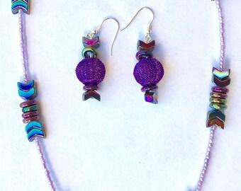 Futuristic necklace/earring set