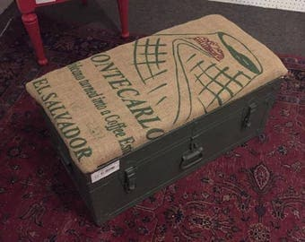 Upholstered Military Trunk