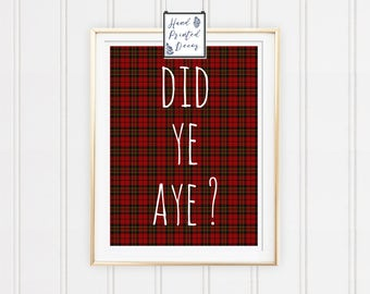 Scottish Wall Art, Scottish Home Decor, Digital Print, Printable Art, Mens Wall Art, Men Home Decor, Scottish Quote, Scotland Print