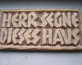 """Vintage Blessing Mural-house blessing-wood-wooden painting-carving-""""Lord bless This Home"""""""