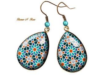Drops earrings mosaics Oriental bronze blue cabochon