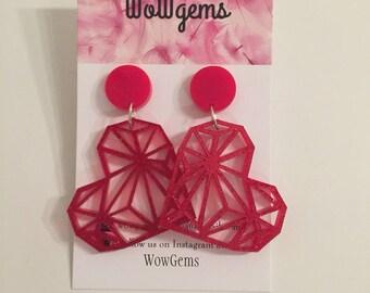 Red glitter geometric hearts dangles laser cut acrylic earrings