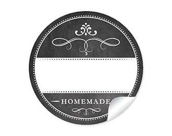 """24 STICKERS: 24 precious spice labels for the kitchen in the """"chalk-board-look"""" in anthracite / black ornaments 'HOME MADE'"""
