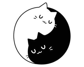 Yin Yang Cats Kittens Graphics SVG Dxf EPS Png Cdr Ai Pdf Vector Art Clipart instant download Digital Cut Print File Cricut Silhouette