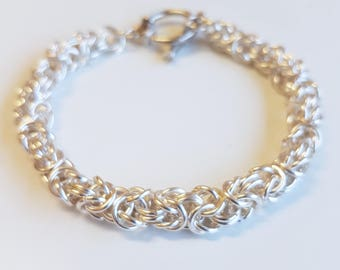 Sterling Silver Chainmail Aquamarine Bracelet