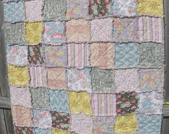 Beautiful Rag Quilt in soft Pinks with Yellow, Blue and Green accents
