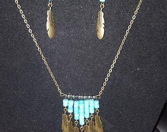 Turquoise Feathers Set