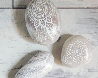 Painted Boho Beach Stones, Pebbles Art, Boho Home decor, Collectible Stones, Shabby chic pebbles, Rustic House decor