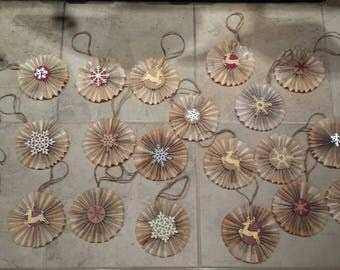 Pleate Folded Book Page Ornaments or Package Toppers