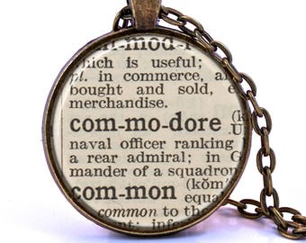 Commodore Dictionary Pendant Necklace