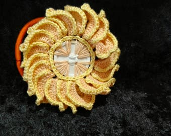 Crochet Button Flower Hair Tie