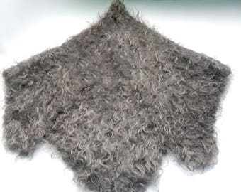 80s Downy shawl handmade Warm natural downy shawl Grey shawl of goat down Shawl crocheted Handmade shawl Russian downy shawl Knitted shawl
