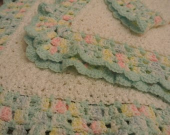 Hand Crocheted Baby Receiving Blanket, Baby Afghan, Baby Girl Blanket, Baby Boy Blanket, Baby gift, ruffle trim baby blanket, Nursery afghan