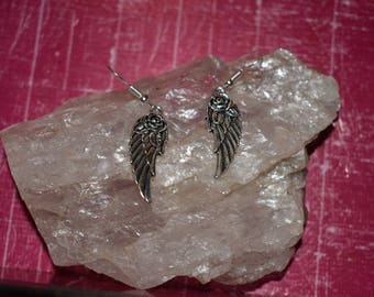 Rose and angel wing earrings