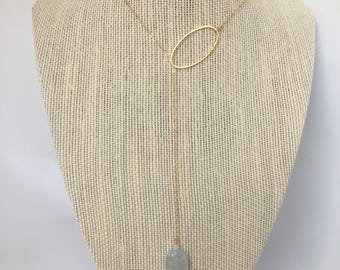 Blue Calcite Stone Lariat 14kt Gold Filled // or Sterling Silver Necklace