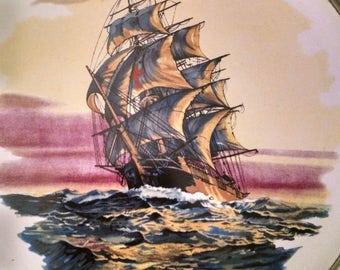 Nautical Sailing Ship Tile in Pewter Frame